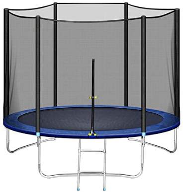 LUKDOF 10FT Trampoline with Safety Enclosure Net